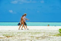 People in holiday at Paradise Island, Maldives. March 2012 Stock Photography