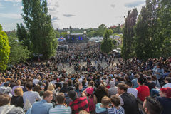 Many people in crowded park (Mauerpark) at  fete de la musique Royalty Free Stock Photography