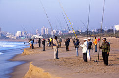 Many People Fishing on Blue Lagoon Beach Royalty Free Stock Image