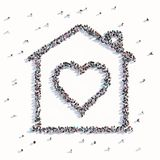Many people form a family house vector illustration