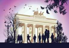 Many people gathered at the square near the Brandenburger Gate Royalty Free Stock Photography