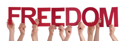 Many People Hands Hold Red Straight Word Freedom Stock Image