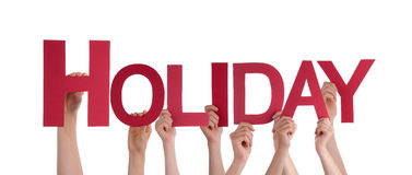Many People Hands Hold Red Straight Word Holiday Royalty Free Stock Photography