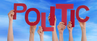 Many People Hands Hold Red Word Politic Blue Sky Royalty Free Stock Photos
