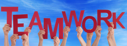Many People Hands Hold Red Word Teamwork Blue Sky Stock Photo