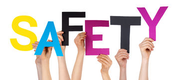 Many People Hands Holding Colorful Word Safety Royalty Free Stock Images