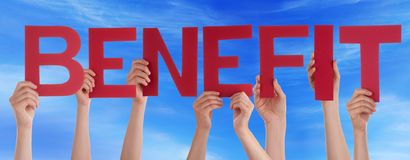 Many People Hands Holding Red Straight Word Benefit Blue Sky Royalty Free Stock Photo