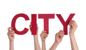 Many People Hands Holding Red Straight Word City Stock Photo
