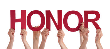 Many People Hands Holding Red Straight Word Honor Stock Photo