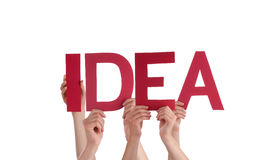 Many People Hands Holding Red Straight Word Idea Royalty Free Stock Image