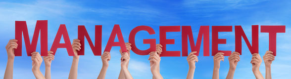 Many People Hands Holding Red Straight Word Management Blue Sky Stock Photo