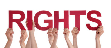 Many People Hands Holding Red Straight Word Rights. Many Caucasian People And Hands Holding Red Straight Letters Or Characters Building The Isolated English Word stock image
