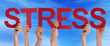 Many People Hands Holding Red Straight Word Stress Blue Sky Royalty Free Stock Images