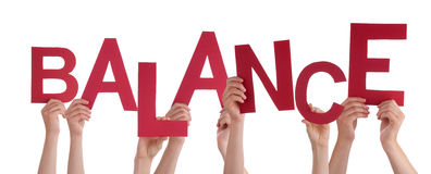 Many People Hands Holding Red Word Balance Stock Images
