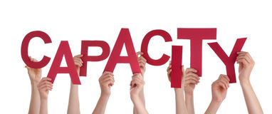 Many People Hands Holding Red Word Capacity Royalty Free Stock Photo