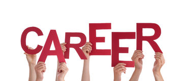 Many People Hands Holding Red Word Career Royalty Free Stock Photography
