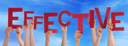 Free Many People Hands Holding Red Word Effective Blue Sky Royalty Free Stock Photos - 50300648