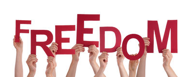 Many People Hands Holding Red Word Freedom Royalty Free Stock Photos