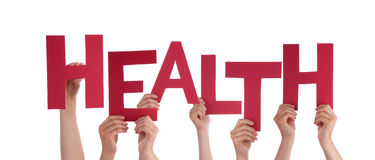 Many People Hands Holding Red Word Health Stock Images