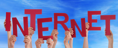 Many People Hands Holding Red Word Internet Blue Sky Stock Images
