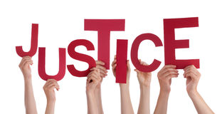 Many People Hands Holding Red Word Justice Royalty Free Stock Images