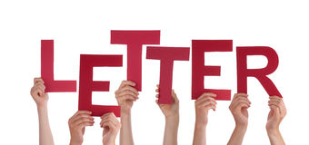 Many People Hands Holding Red Word Letter Stock Photo