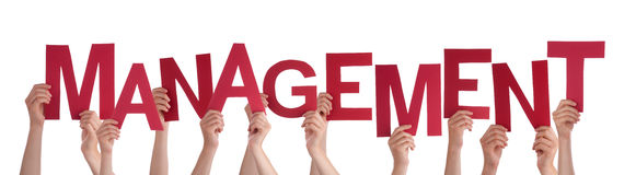 Many People Hands Holding Red Word Management. Many Caucasian People And Hands Holding Red Letters Or Characters Building The Isolated English Word Management On royalty free stock image
