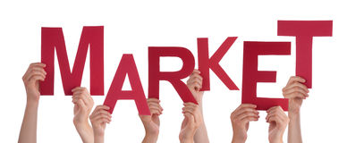 Many People Hands Holding Red Word Market Stock Images