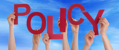 Many People Hands Holding Red Word Policy Blue Sky Stock Photos