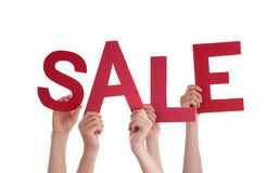 Many People Hands Holding Red Word Sale Stock Images