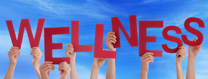 Many People Hands Holding Red Word Wellness Blue Sky Stock Images