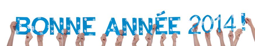 Many People Holding Bonne Annee 2014 Stock Photo