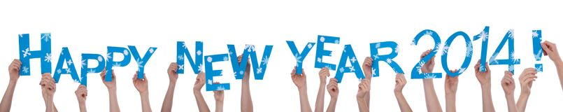 Many People Holding Happy New Year 2014 Royalty Free Stock Photos