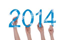 Many People Holding Snowy 2014 Royalty Free Stock Images