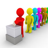 Many people in line take turn to vote Royalty Free Stock Image