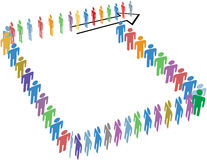 Many people long line around copy space block. Many diverse people line up in a long line around a block of copy space on an arrow stock illustration