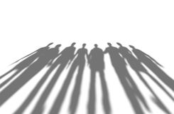 Many people long shadows, isolated on white. Royalty Free Stock Images