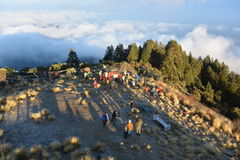 Many people looking for sunrise at Himalayas stock images