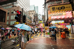 Many people in Mongkok street at night. Stock Photo