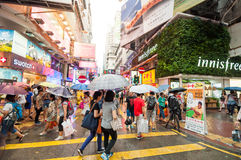 Many people in Mongkok street in rainy day Royalty Free Stock Photography