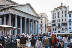 Many people near Pantheon building in Rome Stock Photography