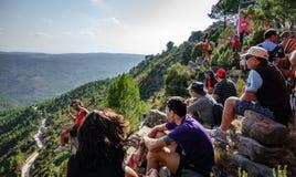 Many people observing Mas de la Costa ascending Royalty Free Stock Photo