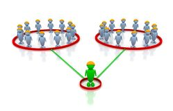 Many people and one leader. 3d image renderer Royalty Free Illustration