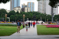 Many people at the park in Guangzhou city, China Stock Photos