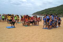 Many people participate in sports activities at beaches and parks - Quy Nhon, Vietnam in 2011. The event of a company with many people involved, they participate royalty free stock images