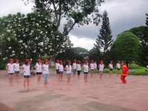 Many people participate in sports activities at beaches and parks - Quy Nhon, Vietnam in 2011. The event of a company with many people involved, they participate stock images