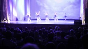Spectators watch performance of graceful ballet dance in theater, back view.