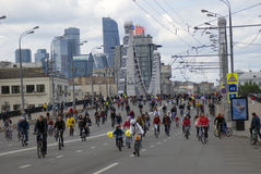 Many people ride bicycles in Moscow city center. Royalty Free Stock Photos