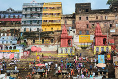 Many people on the riverbank of Ganges in Varanasi, India.  Royalty Free Stock Image