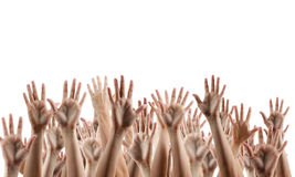 Many people's hands up isolated on white. Background. Various hands lifted up in the air. Clipping path. Copy space stock photos